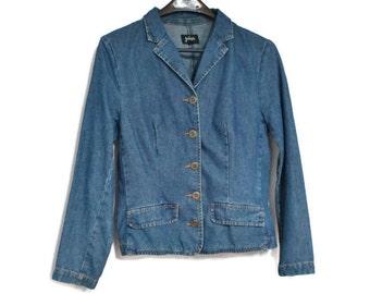 Vintage Jacket Blazer Denim Jacket Jean Jacket ON SALE 1980's Denim Blazer Hip Length Preppy Boho Size Small to Medium