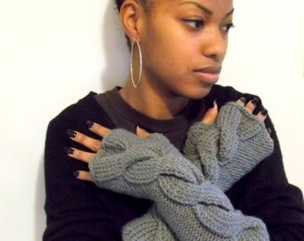 Hand Made Cable Knit Fingerless Gloves, wrist warmers, winter gloves, womens gloves, arm warmers,  in SOFT GREY