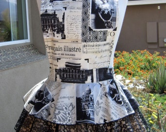 Diva Apron -  Black and Ivory Vintage Paris photo print mixed with lace apron.