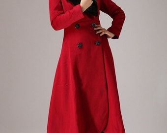 oversized coat,double breasted coat,Red coat, cashmere coat, winter coat, long wool coat, womens jackets,trench coat,wrap coat, Gift (760T)
