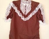 SALE Vintage 70's Victorian Style Blouse