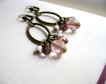 Bohemian romantic style - Desire - pink purple and ivory delicate romantic affordable  vintage inspired earrings