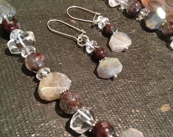 Phantom Quartz and Labradorite Sterling Silver Necklace and Earring Set