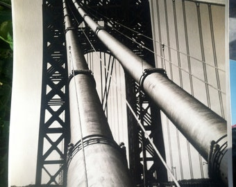 Vintage PHOTOGRAPH B&W George Washington Bridge 1930's 9X13