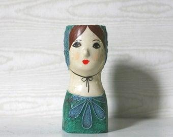 Head Paper Mache, Capistrano Vintage Paper Mache Lady Head Pin Cushion Doll  Capistrano Mexico