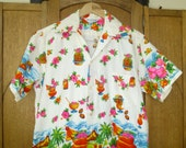 Vintage Mens Hawaiian Shirt Surfers and Mai Tais Luau Vintage BeacH Wear Medium