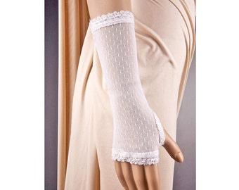 WHITE Fingerless Gloves in polka dot,White Wedding Gloves,Short Wedding Gloves,Fingerless white gloves,Short Lace Gloves,White Lace Gloves