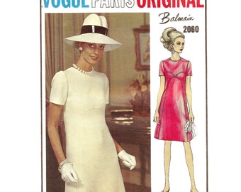 1960s Balmain Mod Dress Pattern - Vintage Vogue Paris Original 2060 - Bust 34