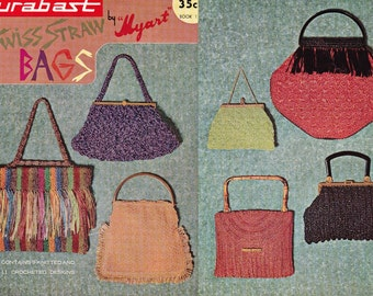 Myart Book 1 Straw Handbags Purses Knitting Crochet 1960s Vintage Original Paper Patterns 20 styles RETRO DIY
