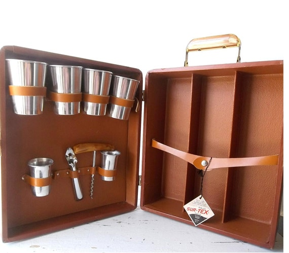 Vintage Portable Bar Set Liquor Travel Case Mid Century Mad