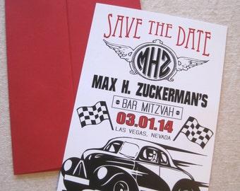 Bar Mitzvah Save The Date Car Theme