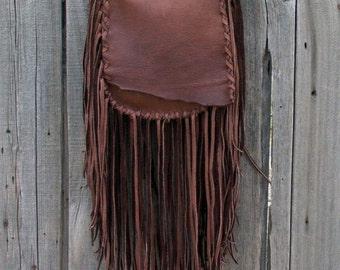 Brown possibles bag , Fringed leather handbag, Brown leather handbag