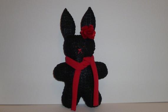 Stuffed black bunny rabbit plush red and black gift for a teen girl stocking stuffer gifts for women felt animal
