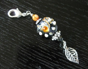 Handmade Lampwork & Agate Zipper Pull, Purse Charm