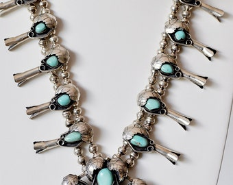 Sterling Silver and Turquoise Native American Squash Blossom Necklace