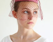 pill box hat - formal pill box hat with veil  - rose burgundy pillbox hat