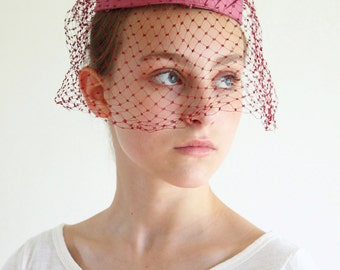 pill box hat - formal pill box hat with veil  - rose burgundy pillbox hat