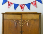 Blue White and Red Fabric Bunting Banner, Flags, Party Pennants, Reusable Decorations