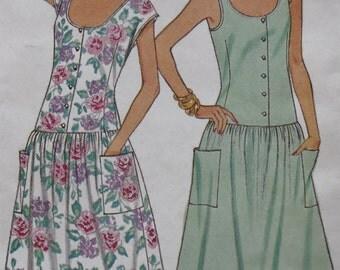 Vintage Butterick 3864, 80s Dress Sewing Patter, Drop Waist Dress, Dirndl Skirt, Summer Dress, XXS XS
