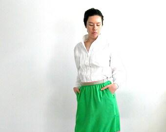Vintage Green Linen Skirt  - 70s  skirt -  preppy - knee length - midi - high waist - aline skirt - medium