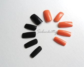 Siberian Cat Black Orange Nail Art PDF Tutorial DIY Kit Long Square Nail Art Blanks length nails full coverage fake fingernail tips glue