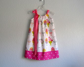 Girls Pillowcase Dress - White Dress with Bunnies Lambs and Chicks - Girls Pink and White Sun Dress - Size 12m, 18m, 2T, 3T, 4T, 5 or 6