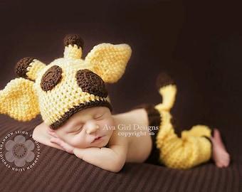 Giraffe hat and pants set, baby giraffe hat, animal hat, baby photo prop, Bailey the Giraffe, Baby hat pant set, crochet giraffe hat pant