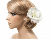 Gardenia Hair Clip / Brooch / Corsage, Real Touch Gardenia Rose Fascinator in Natural Cream White