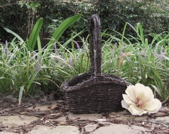 Rustic Grapevine Basket In Espresso Brown for Wedding or Home Decor