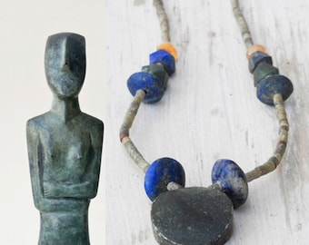 Green Jade and Blue Lapis Lazuli Necklace, Unpolished Natural Hand-cut Beads, Ethnic Bohemian Jewelry, Tribal Necklace, Santorini Jewelry