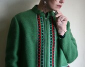 SALE - Emerald Green Embroidered Austrian Folk style Wool Jacket size Large