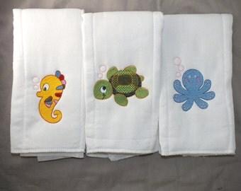 Under the sea baby boy burp cloth baby girl burp cloth personalized burp cloth sea creature burp cloth gender neutral burp cloth unisex