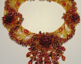 Amber Beaded Floral Necklace (Amber#A-4)