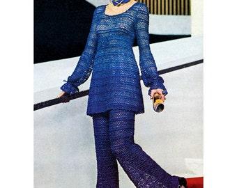Vintage 1970s Crochet Pattern Lacy Empire Tunic Mini Pant Set Digital Download PDF