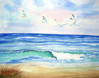 Beach watercolor ORIGINAL seascape, seagulls and ocean, matted 16x20, cottage home decor, beach art