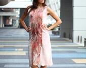 Pink felted dress. Seamless Felted Light brown pink short dress vitrage, OOAK felted Dress ohtteam