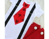 Baby Boy Mickey Mouse Birthday Tie and Suspender Bodysuit & Red Leg Warmers w White Buttons 1st Birthday Party Disney Style Cake Smash