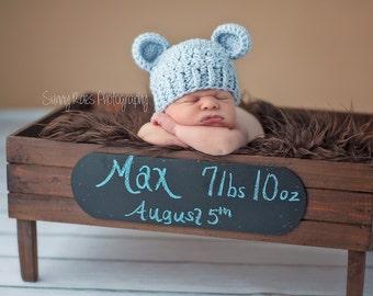 NEWBORN Baby Boy Hat, Baby Boy Teddy Bear Hat, Baby Flapper Beanie, Blue with Ears, Newborn Photo Props, Baby Boy Gift, Children clothing