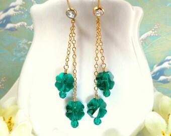 Green Swarovski four leaf clover gold dangle cubic zirconia earrings, Green Swarovski crystal clover St Patricks Day Gold Filled Earrings