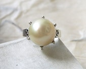 XL South Sea Pearl, Pearl Engagement Ring, Statement Ring, Sterling Silver, Floral Design