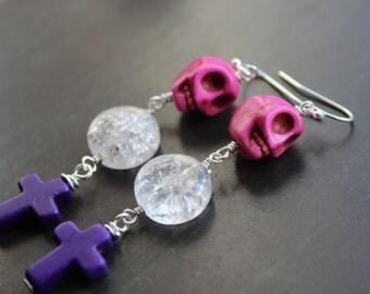 Sugar skull Earrings with Cross Dangles