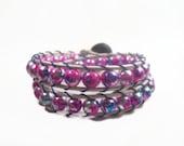 Wrap Beaded Bracelet Shades of Pink Leather Wrap Bracelet