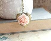 Heart Locket Necklace Pink Rose Pendant Country Chic Antique Brass Long Chain Secret Hiding Places Antique Brass Vintage Style Photo Locket
