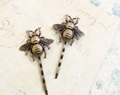 Bee Bobby Pins Honey Bee Hair Accessories Bumblebee Hair Clips Antique Gold Brass Woodland Wedding Bug Insect Bobbies Gift for Women Nature