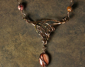 Copper Bronze Jasper Art Nouveau Wirewrapped Necklace