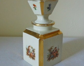 Antique German Porcelian Perfume Bottle with Pontil Stopper