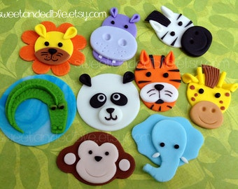 JUNGLE or SAFARI Edible Cupcake Toppers - CHOOSE any 6