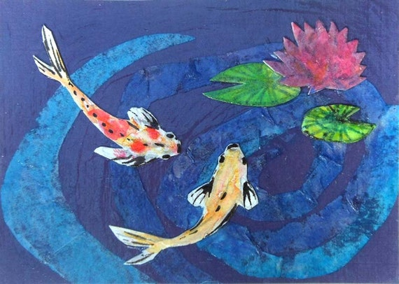 Lily pond aceo water lilies koi art meditation by for Koi fish pond lotus
