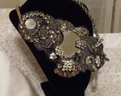 Mirror Rhinestone Necklace, Elegant Luxury Beaded Neck Piece, Smoke N Mirrors Statement Bib Collier