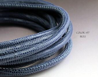 1 foot Blue leather cord 4mm lizard print Nappa leather cord 4 mm round stitched leather